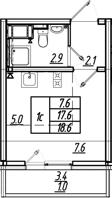 Студия, 18.6 м², 5 этаж