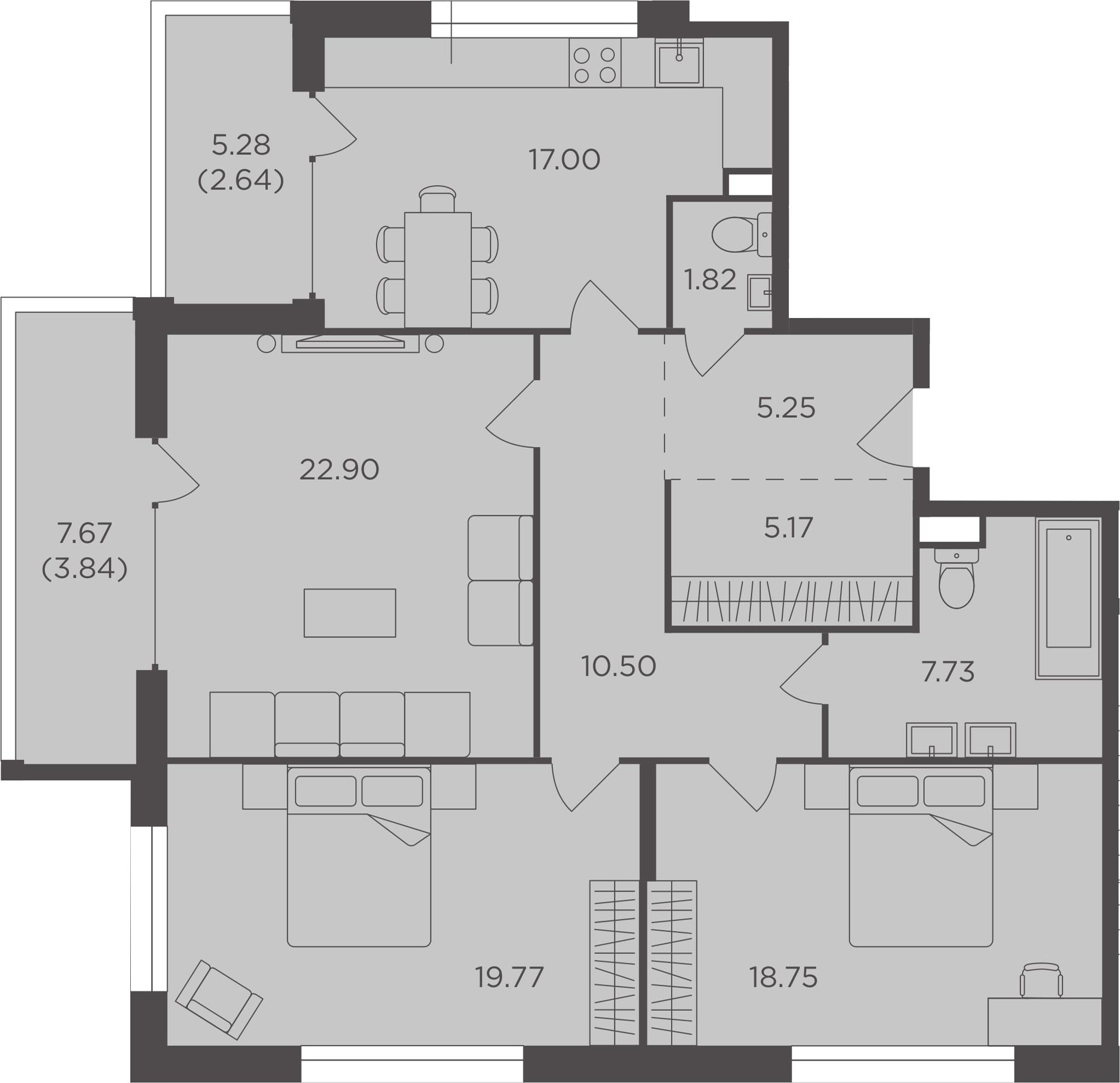 3-к.кв, 115.37 м², 2 этаж