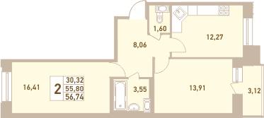 2-комнатная, 56.74 м²– 2