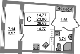 Студия, 23.06 м², от 15 этажа