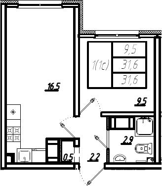 2Е-комнатная, 31.6 м²– 2