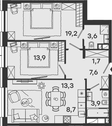 3-к.кв (евро), 71.9 м²