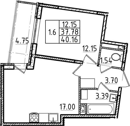 2Е-комнатная квартира, 37.78 м², 1 этаж – Планировка