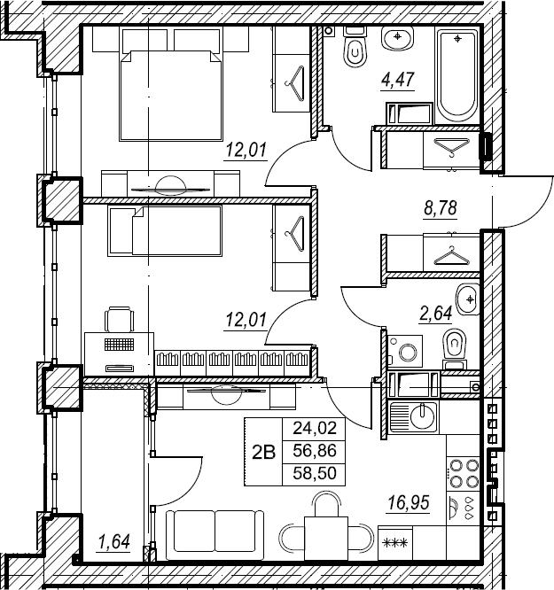 2-к.кв, 58.5 м², 3 этаж