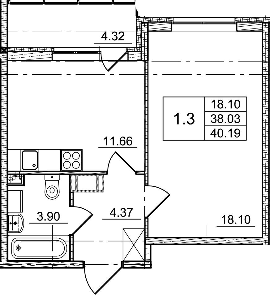 1-к.кв, 38.03 м²