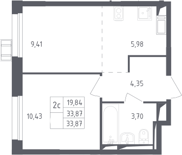 2Е-к.кв, 33.87 м², от 16 этажа