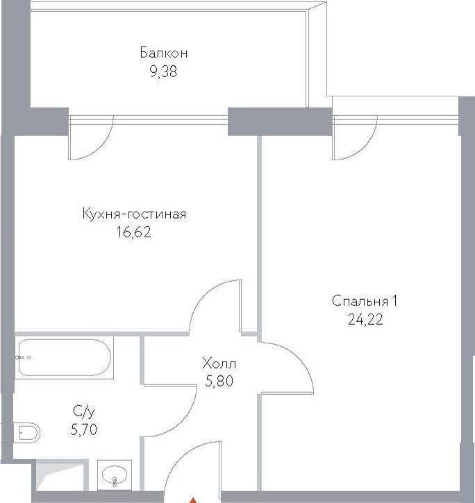 2Е-к.кв, 61.72 м², 5 этаж