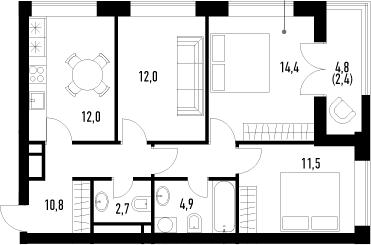 3-к.кв, 70.7 м²