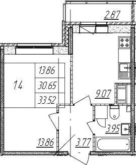 1-к.кв, 30.65 м², 14 этаж