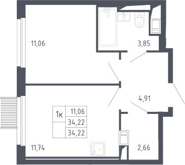 1-комнатная, 34.22 м²– 2