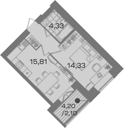 1-к.кв, 40.36 м²