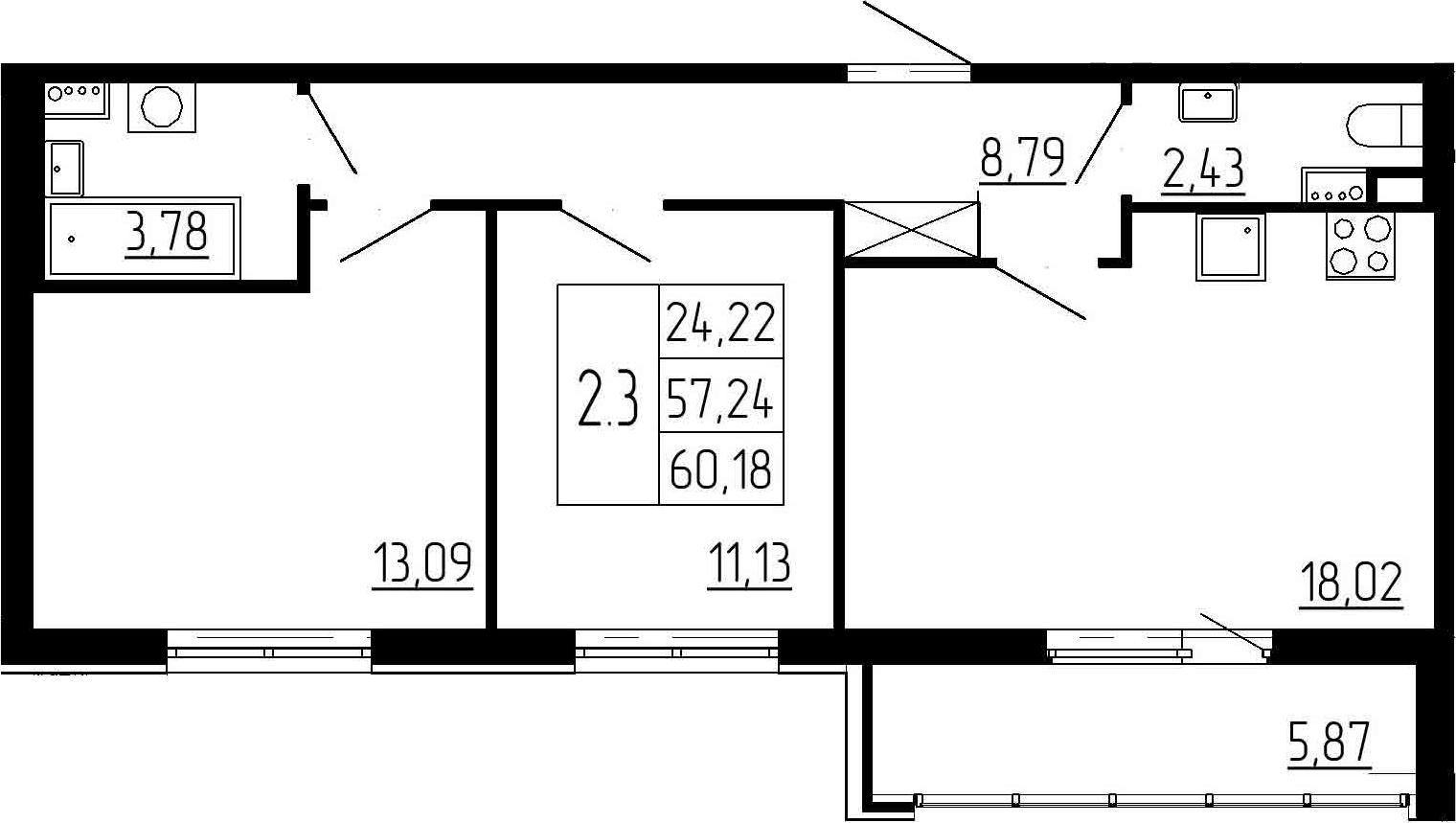 3-к.кв (евро), 63.11 м²