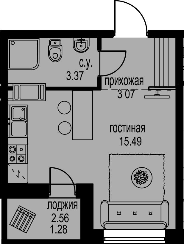 Студия, 24.49 м²