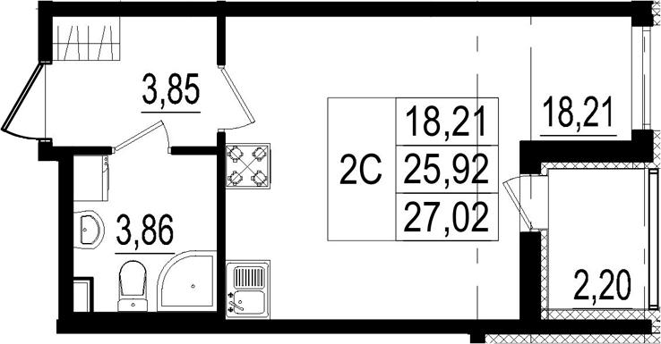 Студия, 25.92 м²