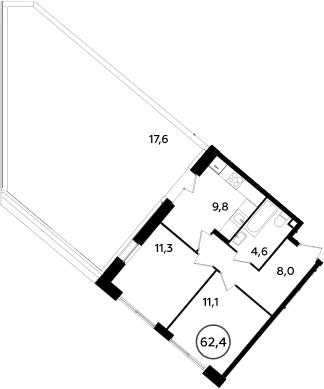 2-комнатная, 62.4 м²– 2