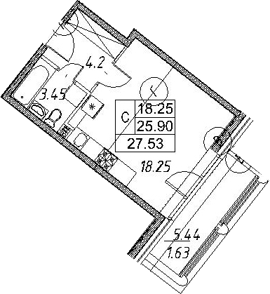 Студия, 27.53 м²– 2