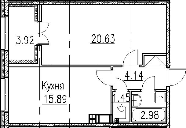2-к.кв (евро), 49.01 м²