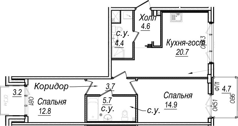 3Е-к.кв, 69.8 м², 7 этаж