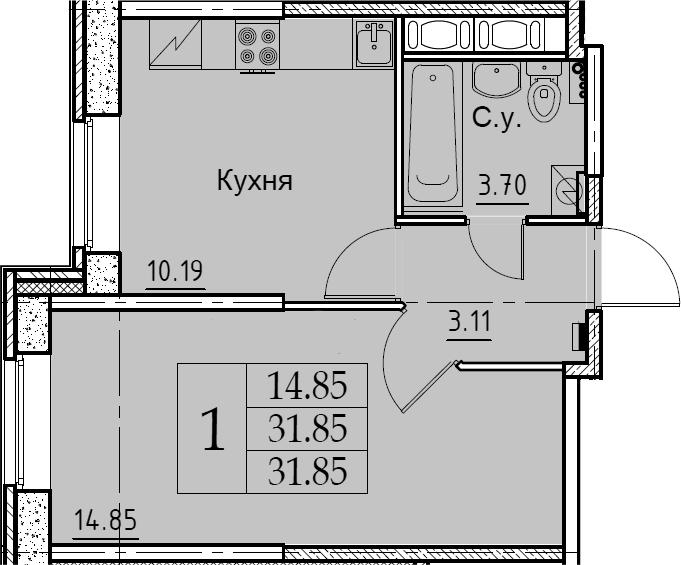 1-комнатная, 31.85 м²– 2