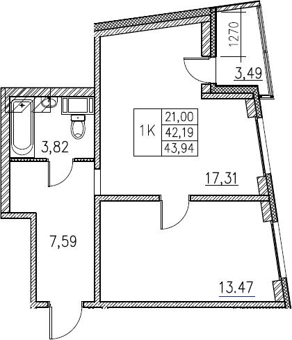 2Е-комнатная, 43.94 м²– 2