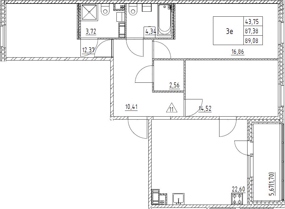 4Е-комнатная, 89.08 м²– 2