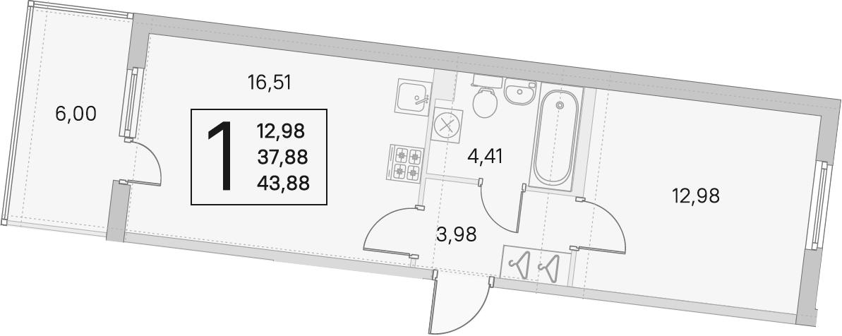 2Е-комнатная, 37.88 м²– 2