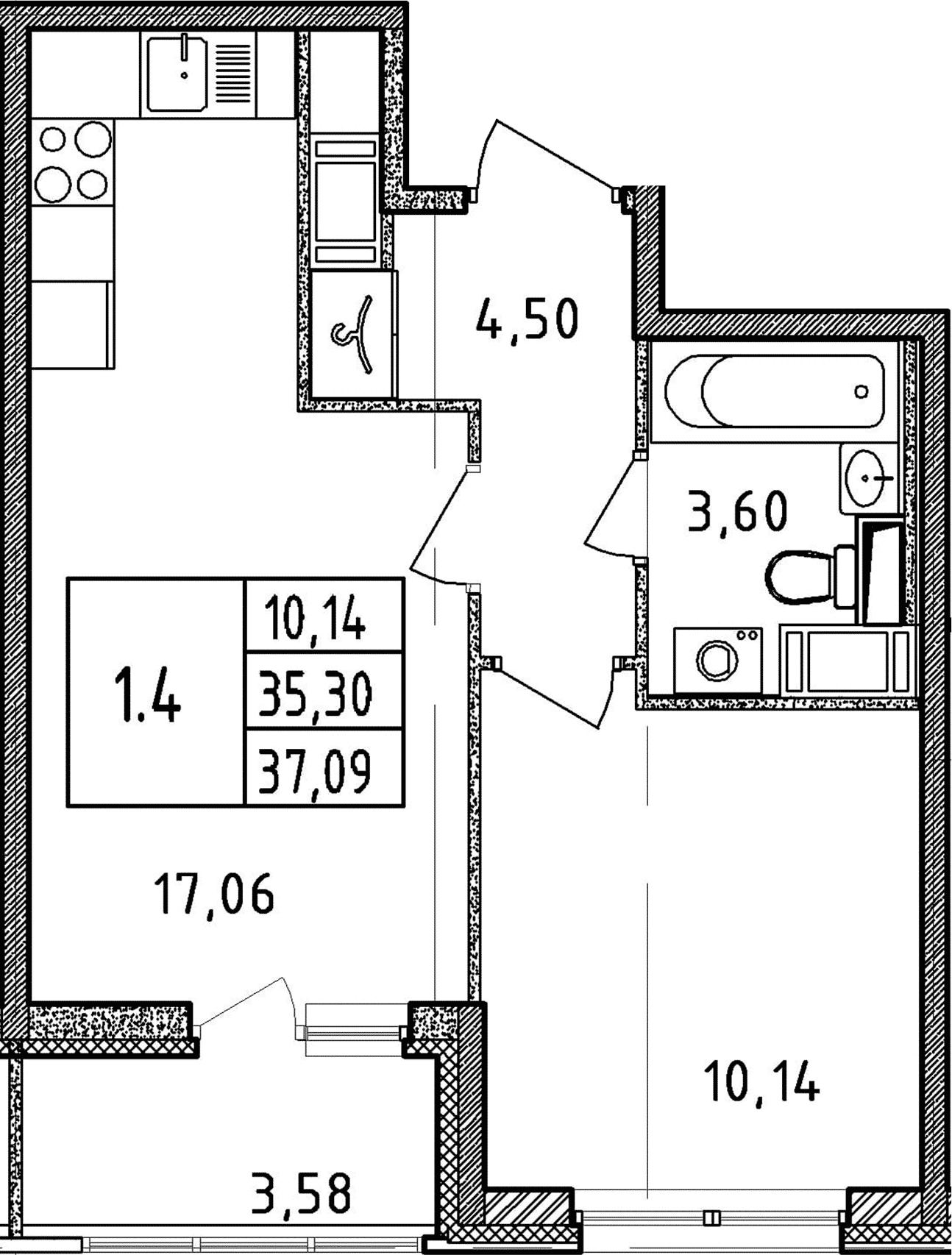 2Е-к.кв, 35.3 м², от 3 этажа