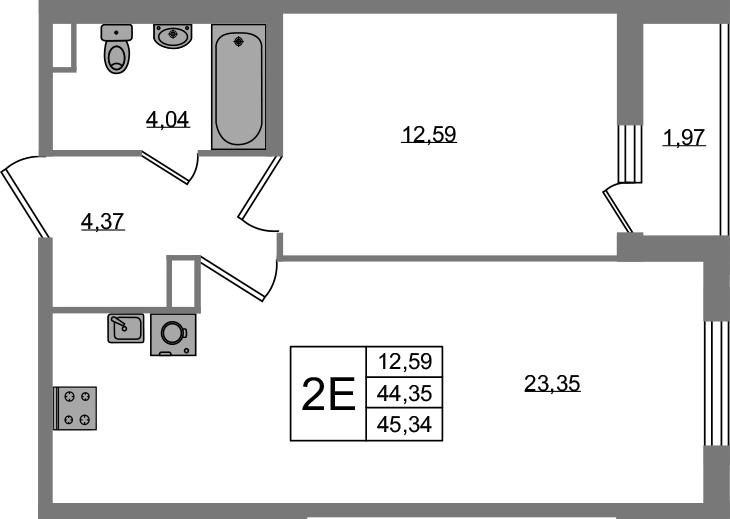 2-к.кв (евро), 46.32 м²