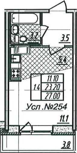 Студия, 23.2 м², 17 этаж