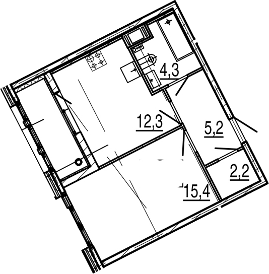 1-к.кв, 41.6 м², от 4 этажа