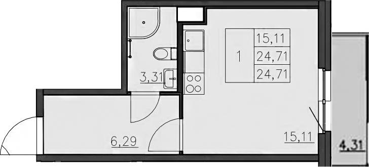 Студия, 29.21 м²