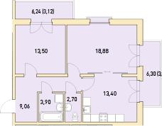 2-к.кв, 67.71 м²