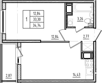2Е-к.кв, 33.3 м², от 12 этажа