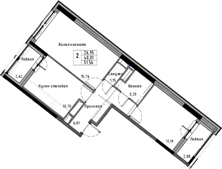 2-к.кв, 51.56 м², 3 этаж
