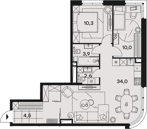 3Е-к.кв, 65.3 м², 10 этаж