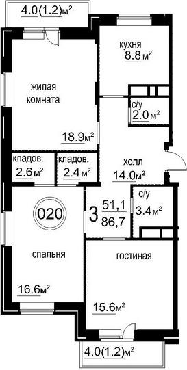 3-к.кв, 92.3 м²