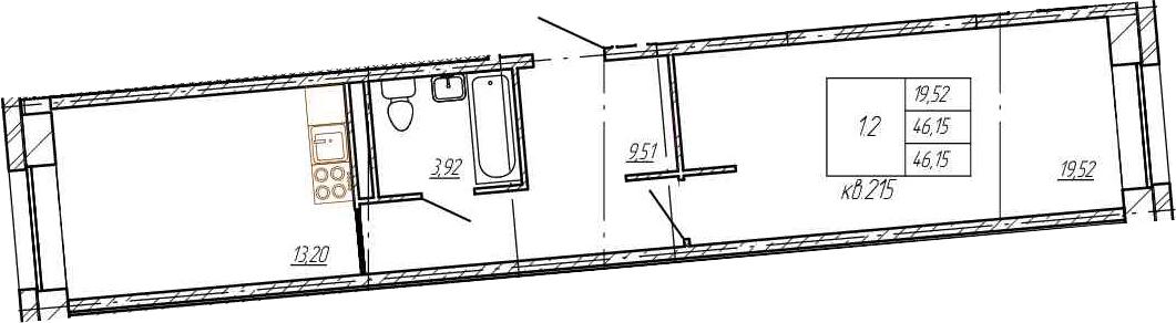 1-к.кв, 46.15 м²