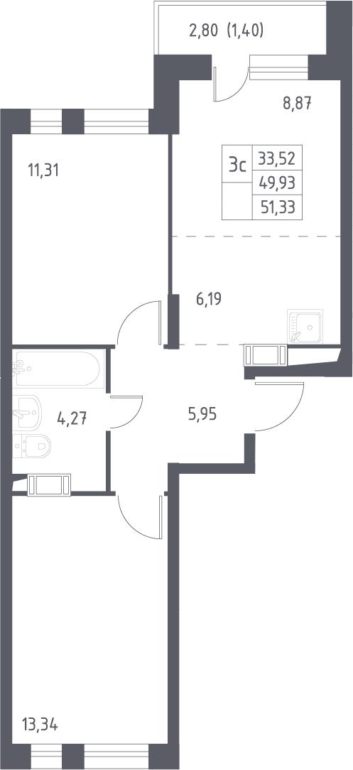 3Е-к.кв, 51.33 м², 13 этаж