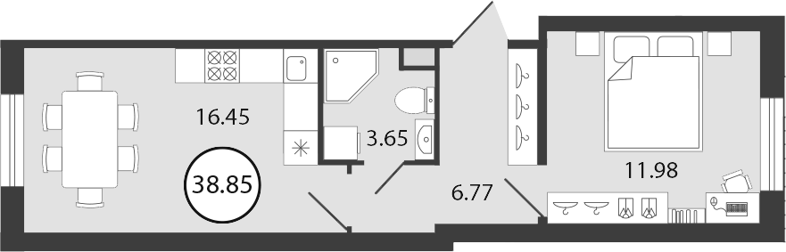 2Е-к.кв, 38.85 м², 1 этаж