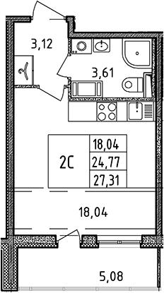 Студия, 27.31 м²– 2