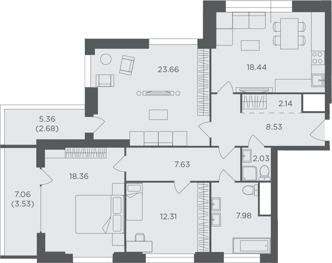 3-к.кв, 107.29 м², 19 этаж