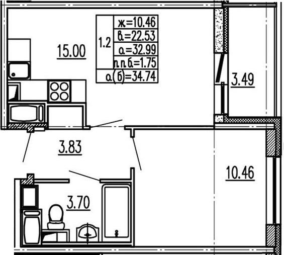 2Е-к.кв, 32.99 м²