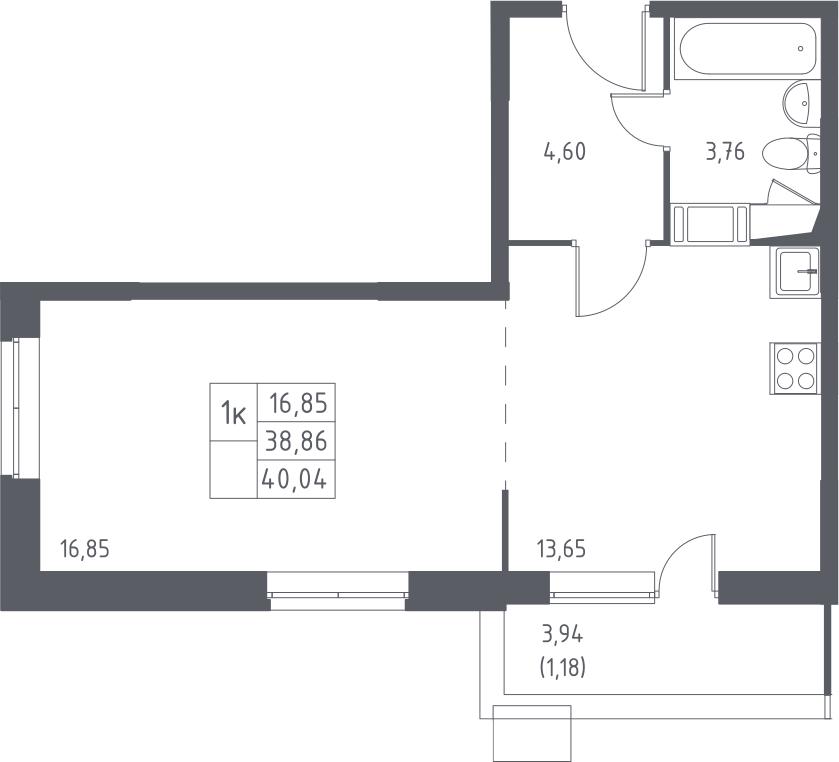 1-к.кв, 42.79 м²