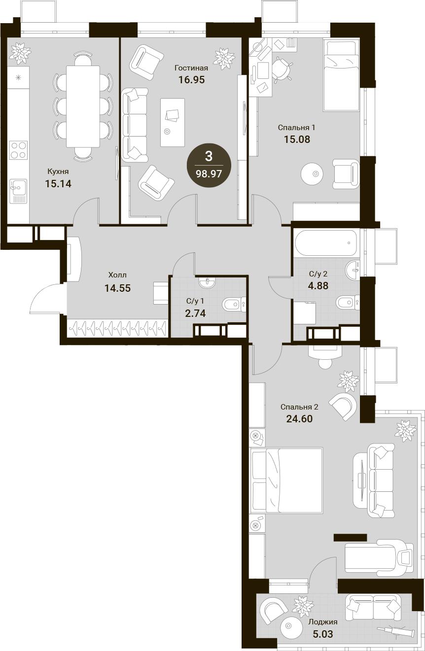 4Е-к.кв, 98.97 м²