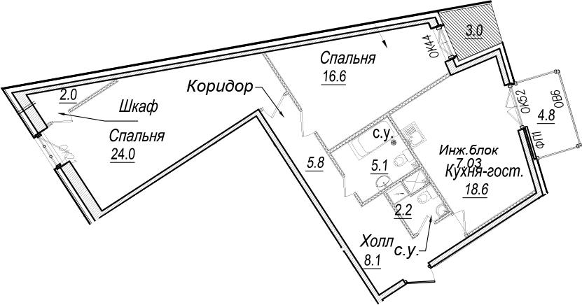3-к.кв (евро), 90.07 м²