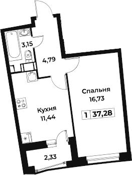 1-комнатная, 37.28 м²– 2