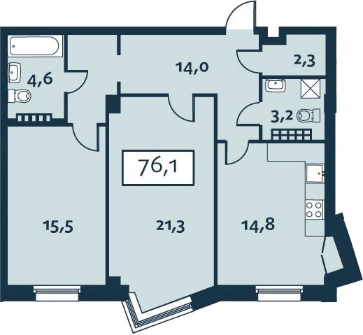 2-комнатная, 76.12 м²– 2