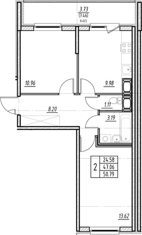 2-к.кв, 54.52 м²