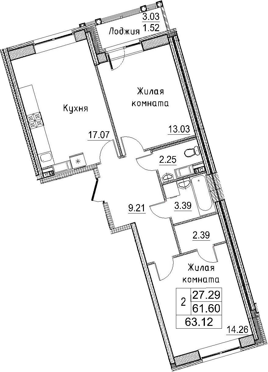3Е-к.кв, 63.12 м²
