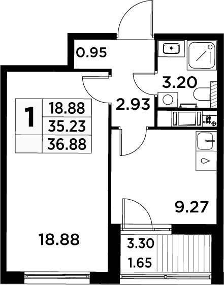 1-комнатная, 36.88 м²– 2